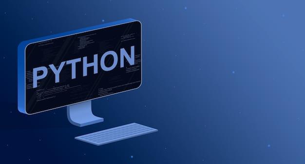 Python en una pantalla de computadora con elementos de código de programa 3d