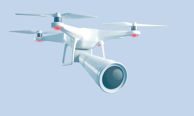 Quadrocopter de representación 3d con una lente grande para disparar espía