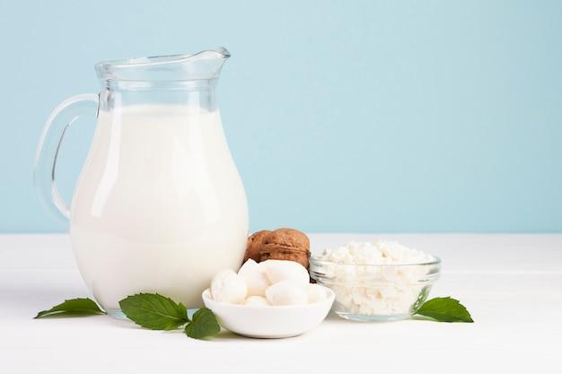 Queso mozzarella y jarra de leche fresca.