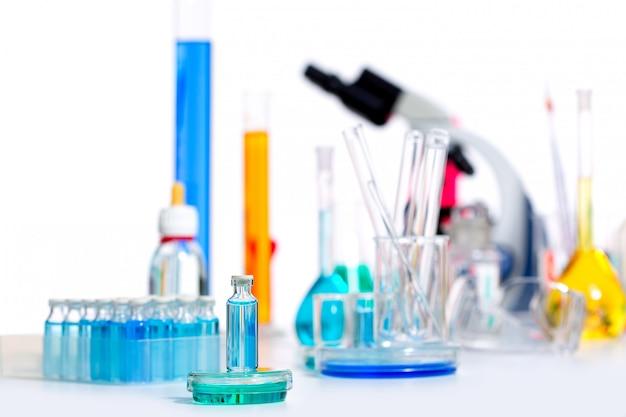 Químico laboratorio científico materia probeta matraz