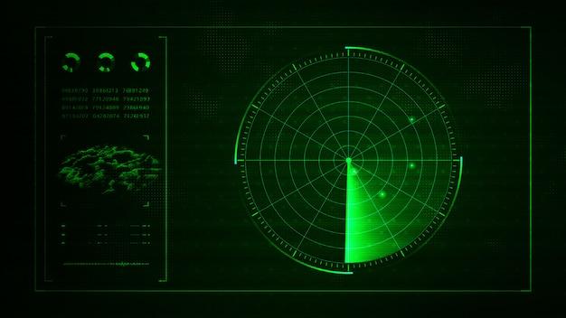 Radar digital realista azul con objetivos en monitor en búsqueda
