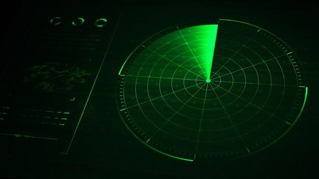 Radar digital realista azul con objetivos en monitor en búsqueda.