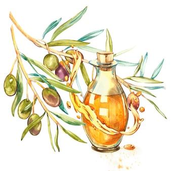 Una rama de aceitunas verdes maduras se vierte jugosa con aceite. gotas y salpicaduras de aceite de oliva. ilustración acuarela y botánica