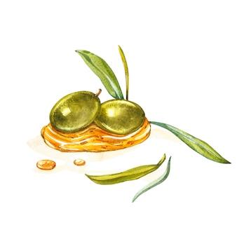Una rama de aceitunas verdes maduras se vierte jugosa con aceite. gotas y salpicaduras de aceite de oliva.