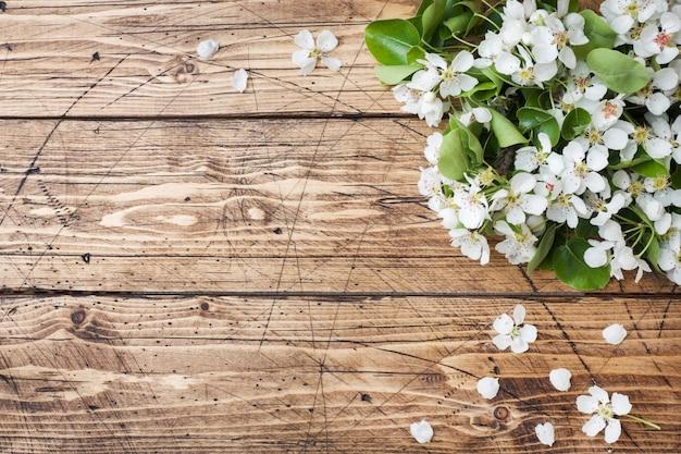 Rama floreciente primavera en madera