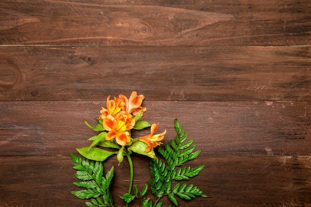 Rama de lirios naranjas sobre fondo de madera