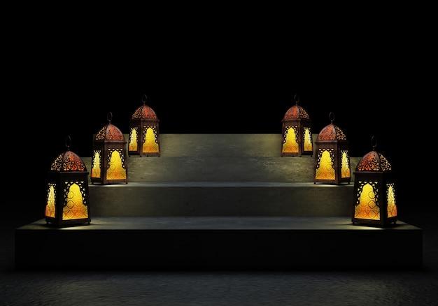 Ramadan kareem hermosa, tarjeta de felicitación con fanoos de linterna árabe tradicional