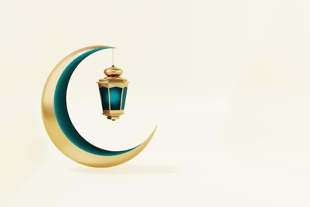 Ramadán kareem luna y linterna 3d render aislado