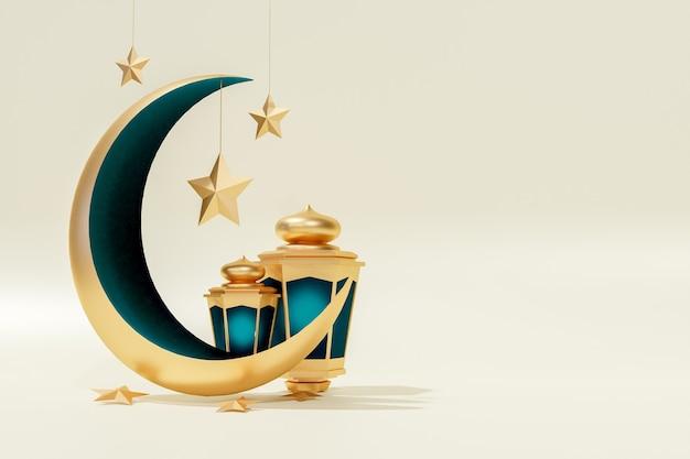 Ramadán kareem moon stars y fondo de renderizado 3d de linterna