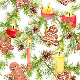 Ramas de los árboles de navidad, galletas de jengibre, ramas de pino y velas brillantes. patrón sin costuras