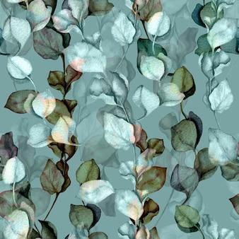 Ramas de eucalipto y dejar acuarela ilustración dibujada a mano. patrón vintage floral transparente.