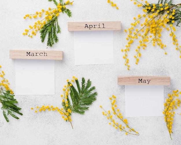 Ramas de flores y meses de primavera.