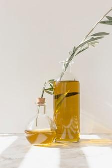 Ramas de olivo dentro de las botellas de aceite contra la pared
