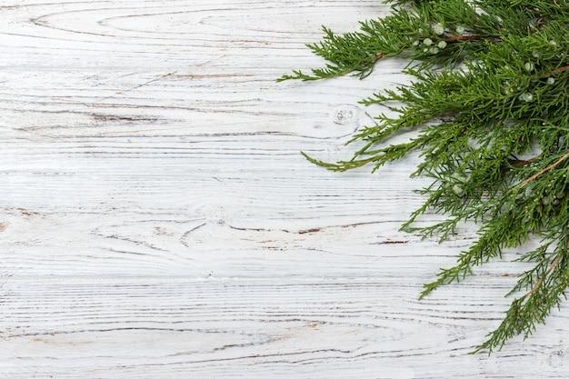 Ramas de thuja verde sobre fondo de madera rústica