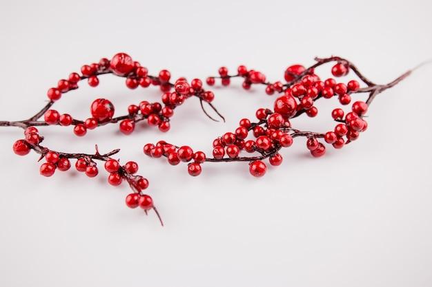 Una ramita de frutos rojos en la decoración de la decoración de la superficie blanca de primavera