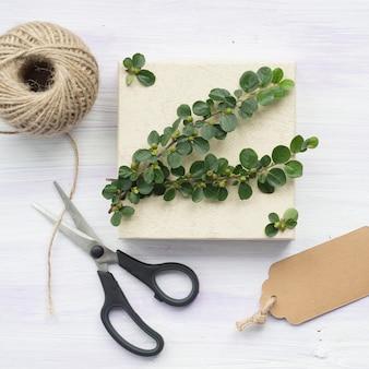 Ramita verde con bayas; etiqueta; cortar con tijeras; y carrete de cuerda en el fondo con textura de madera