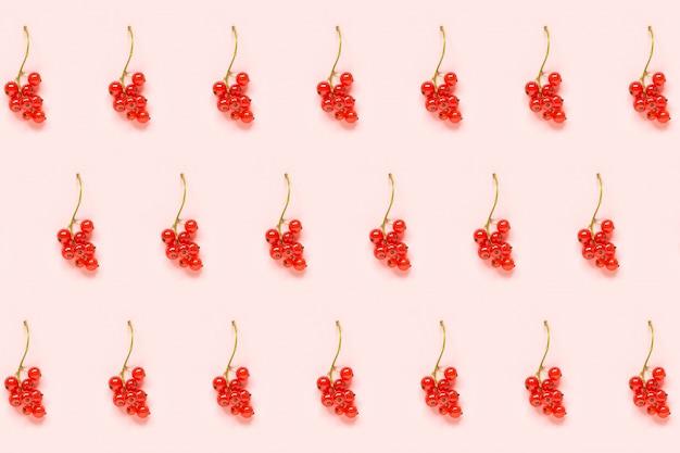Ramitas de bayas de grosella roja sobre papel rosa