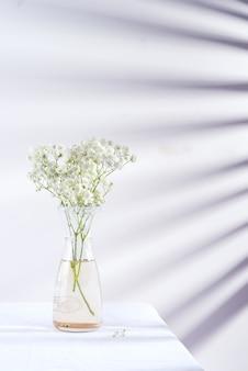 Ramitas de flores frescas de gypsophila planta en jarrón de vidrio sobre tela cubierta de tela contra la pared con sombras de persianas.