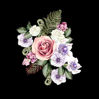 Ramo de acuarela con rosas y flores de anémona hojas de helecho