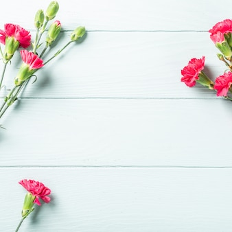 Ramo de clavel rosa sobre fondo de madera turquesa claro