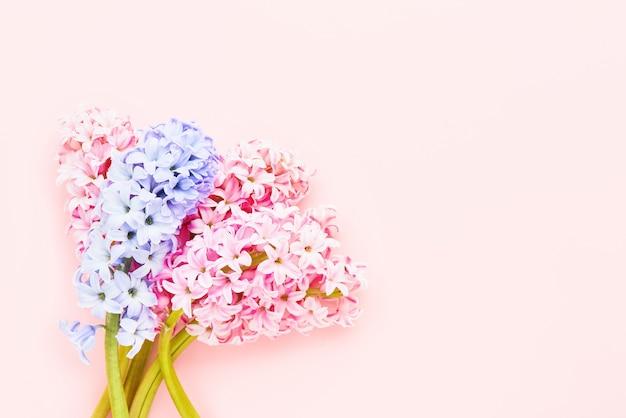 Ramo de flores de jacintos rosas y lilas sobre un fondo rosa. vista superior, espacio de copia