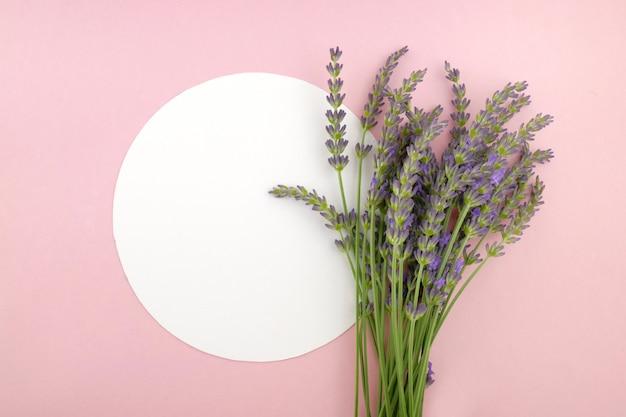 Ramo de flores de lavanda y placa redonda blanca sobre un fondo de color rosa.vista superior, espacio de copia.