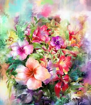 Ramo de flores multicolores estilo acuarela