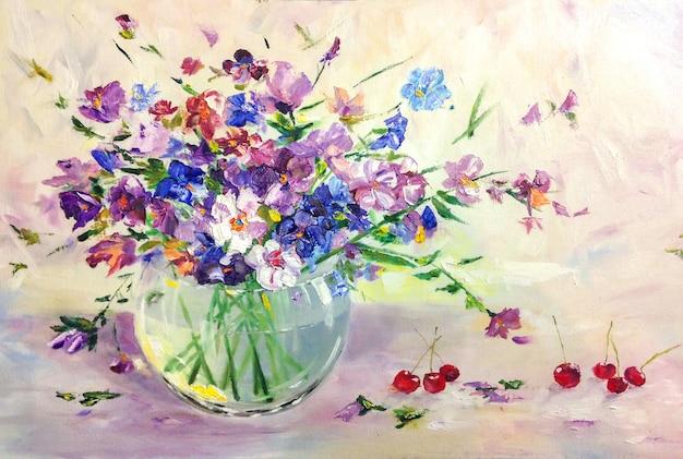 Ramo de flores de pradera salvaje de verano en florero de vidrio, pintura al óleo de naturaleza muerta
