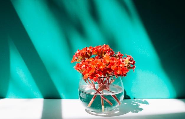 Ramo de flores rojas en florero con agua.