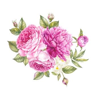 Ramo de flores rosas.