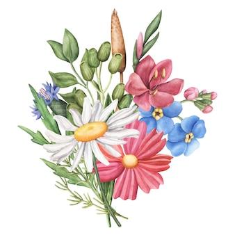Ramo de flores silvestres de verano, composición redonda sobre fondo blanco.
