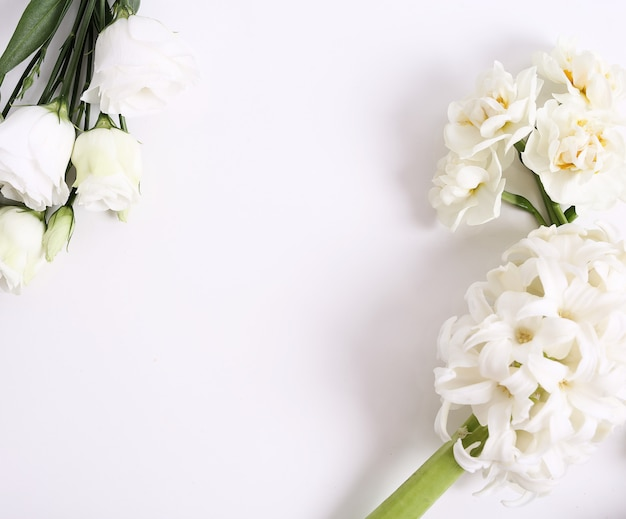 Ramo de flores sobre fondo blanco.