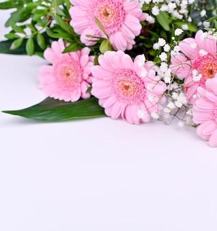 Ramo de gerberas rosas sobre un fondo blanco. celebración del día de la mujer y el día de la madre. espacio libre para texto. bandera.