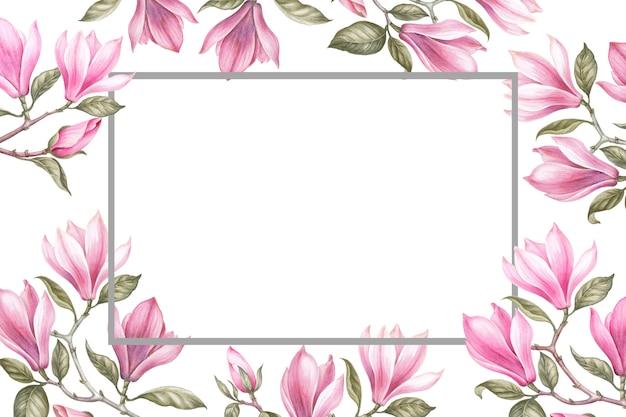 Ramo de magnolia. tarjeta de invitación para bodas, cumpleaños y otras vacaciones y verano