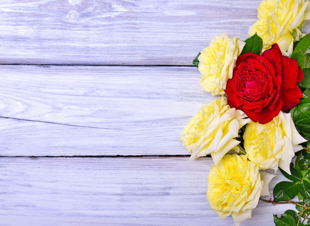 Ramo de rosas amarillas y rojas en flor.