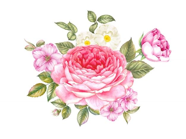 Ramo de rosas y flores de peonía.