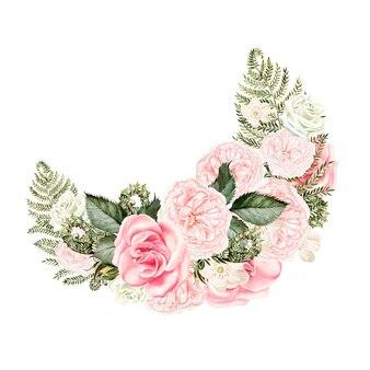 Ramo de rosas y helechos y hojas
