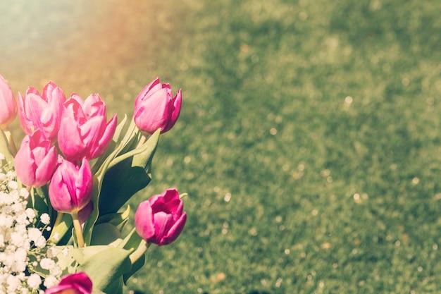 Ramo de tulipanes en el exterior