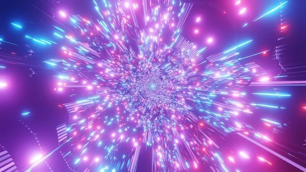 Rápido movimiento 4k uhd luces de neón espacio túnel de ciencia ficción vuela a través de fondo visual de ilustración 3d