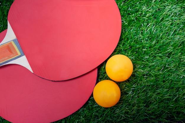 Raquetas de tenis de mesa y pelotas naranjas, paletas de ping-pong en greensward