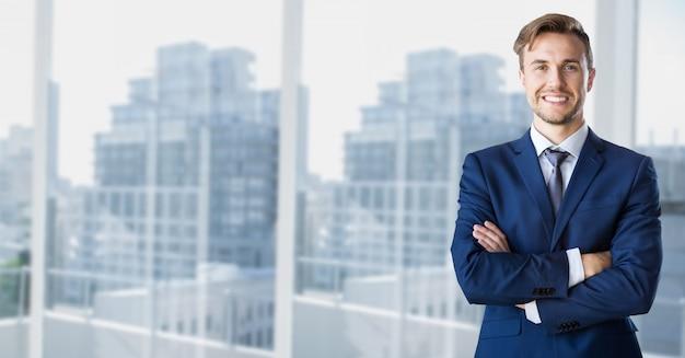 Rascacielos marco de la ventana líder de opinión de la ciudad