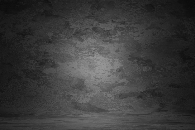 El rasguño gris oscuro de la pared de la textura del vintage empañó el fondo de la mancha. fondo de retrato de estudio de diseño de mármol, borde de luz suave del sitio web de banner. renderizado 3d