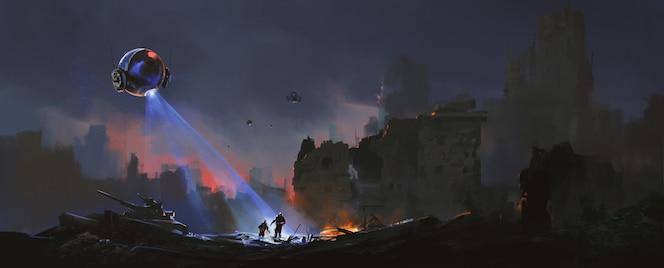Los rastreadores están cazando humanos supervivientes en las ruinas, ilustración de ciencia ficción.