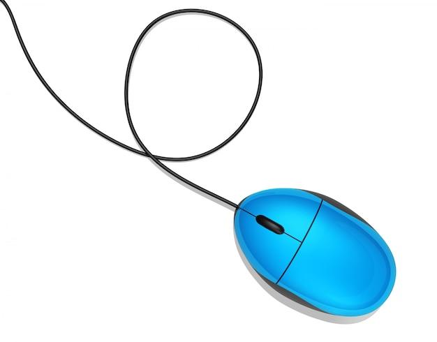 Ratón de la computadora azul 3d