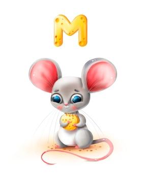 Ratón de dibujos animados lindo tiene queso