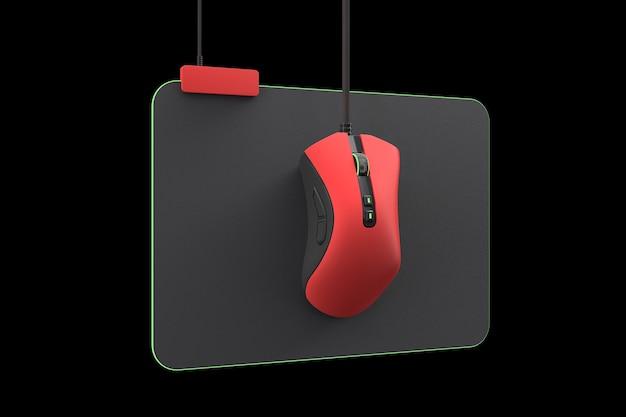 Ratón para juegos rojo moderno en almohadilla profesional aislado en negro con trazado de recorte