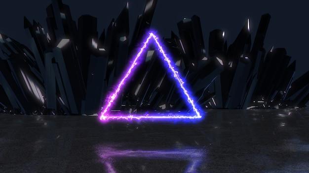 Rayo de energía de neón en forma de triángulo sobre un fondo de cristales, ilustración 3d