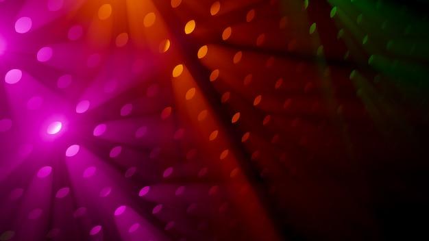 Rayos de luz coloridos volumétricos en fondo humo