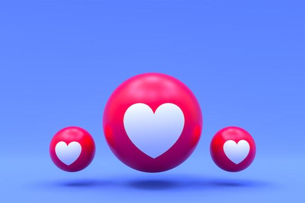 Las reacciones de facebook aman emoji 3d render premium photo, símbolo de globo de redes sociales con corazón,