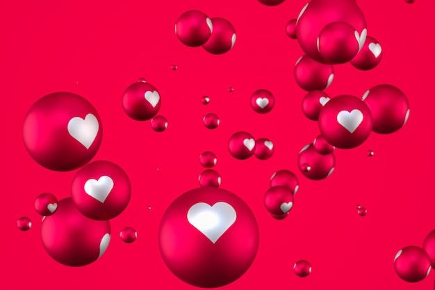 Reacciones de facebook corazón emoji 3d render sobre fondo rojo, símbolo de globo de redes sociales con corazón, tarjeta de feliz día de san valentín